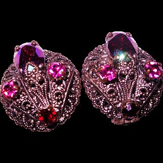 1930's- 40's West German Ruby Rhinestone Earrings