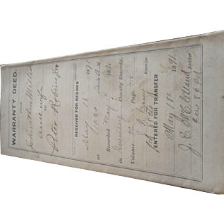 1891 Warranty Deed State of Ohio