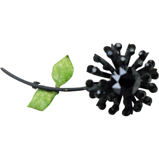 Mid-Century Weiss Black Rhinestone Flower Pin