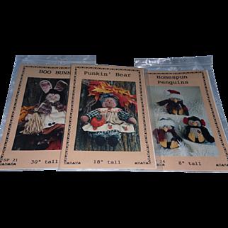 Vintage  Dianna Marcum Publications 3 New Patterns Boo Bunny*Punkin'Bear*Homespun Penguins