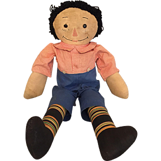 Endearing 19 Inch Early Cloth Raggedy Andy Doll with Button Eyes and Embroidered Features