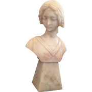 Art Nouveau Alabaster Bust of a Young Woman Circa 1910