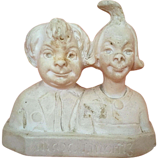 German Chalkware Double Portrait Bust of Comic Characters Max and Moritz Circa 1900