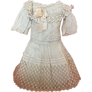 Magnificent Original Antique French Bebe Dress for Very Large Bisque Doll