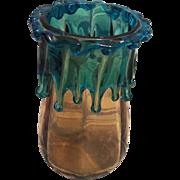 Wonderful Art Nouveau Bohemian Teardrop Amber Glass Vase