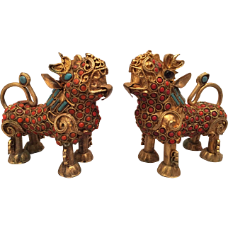 Matched Pair of Ornate Tibetan Foo Lions