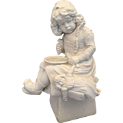 "10"" German Parian Bisque Figure of Unhappy Young Girl with Empty Bowl and Doll"