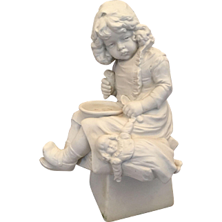 """10"""" German Parian Bisque Figure of Unhappy Young Girl with Empty Bowl and Doll"""