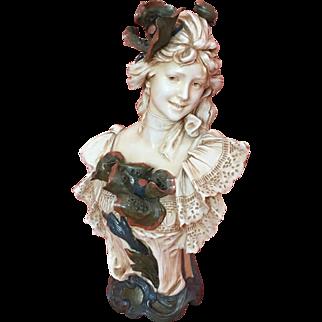 """Large 18.5"""" Royal Dux Art Nouveau Porcelain Bust of a Young Woman"""