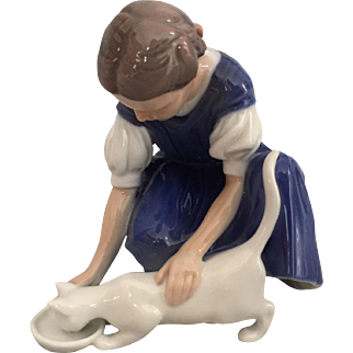 "Girl with Cat Danish Porcelain Figurine by Bing & Grondahl, Titled, ""Only One Drop"""