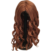 Stunning Vintage French Human Hair Wig in Rich Auburn with Spiral Curls for Large Doll
