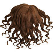"Long and Luscious Brown Antique Human Hair Wig for French or German Bisque Doll 11.5-12.5"" HC"