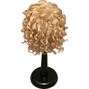 "Fantastic Original Antique Blonde Mohair Wig for French or German Bisque Doll with 11-12"" HC"
