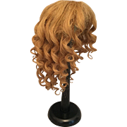 "Bountiful Blonde Naturally Curly Antique Human Hair Doll Wig for French or German Bisque w/ 12.5-13.5"" HC"