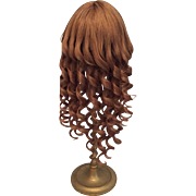 "Long French Spiral Curled Brown Vintage Human Hair Wig with Bangs for Bisque Doll 11-13"" HC"