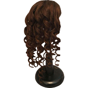 "Dramatic Dark Brown Antique Human Hair Doll Wig with Long Spiral Curls for French or German Bisque 10-11.5"" HC"