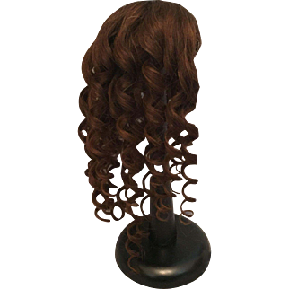 """Dramatic Dark Brown Antique Human Hair Doll Wig with Long Spiral Curls for French or German Bisque 10-11.5"""" HC"""