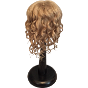 "Flattering Flowing Ash Blonde Mohair Antique Doll Wig for French or German Bisque 9-10.5"" HC"