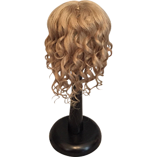 """Flattering Flowing Ash Blonde Mohair Antique Doll Wig for French or German Bisque 9-10.5"""" HC"""