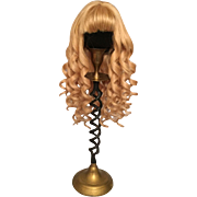 "Sensational Vintage Golden Blonde French Human Hair Wig with Cascading Spiral Curls for Bisque Dolls with 10-11"" HC"