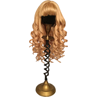 """Sensational Vintage Golden Blonde French Human Hair Wig with Cascading Spiral Curls for Bisque Dolls with 10-11"""" HC"""