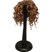 "Thick and Curly Brown Antique Mohair Doll Wig for French or German Bisque 10 - 10.75"" HC"