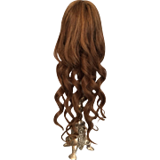 "Long Lovely Dark Brown Hand Tied Antique Human Hair Doll Wig for French or German Bisque 10 - 11.5"" HC"
