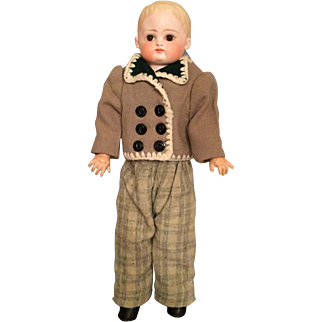 """Early German Bisque Shoulder Head Boy by Kestner 13.5"""" with Slim Waist and Snappy Attire!"""