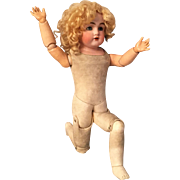 "Best 20"" Kestner 154 German Bisque Shoulder Head Doll with Original Floofy Wig & Long Eyelashes"
