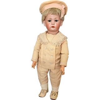 "18"" Seldom Seen 169 Closed Mouth German Bisque Character Doll by Kley & Hahn"