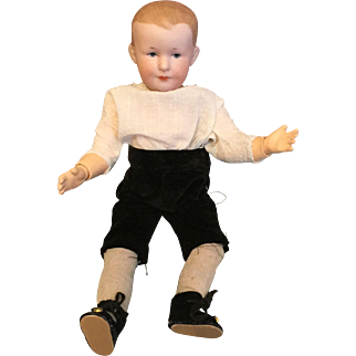 Spunky Cabinet Size Antique German Bisque Character Boy 500 by Armand Marseille