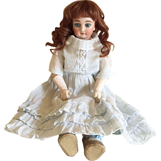 Dainty 11 1/2 Inch Sonneberg Solid Dome Shoulder Head German Bisque Doll for the French Trade with Unusual BJ Arms