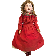"""Gorgeous 19 1/2"""" Simon and Halbig 1170 Shoulderhead German Bisque Doll with Original Dress and Boots"""