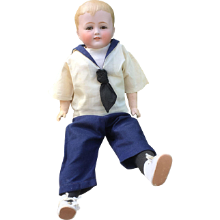 "Engaging 14"" German Bisque Smiling Character Boy w/ Dimple"