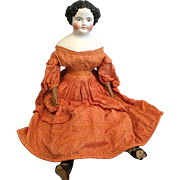 "Outstanding All Original Antique 30"" Flat Top China Head Doll"
