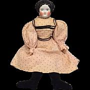 "21"" Flat Top China Head Lady with Wonderful Original Body and Dress"