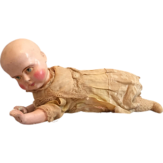 """Rare """"Natural Creeping Baby Doll"""" Wind-up Toy by George Pemberton Clarke circa 1871"""