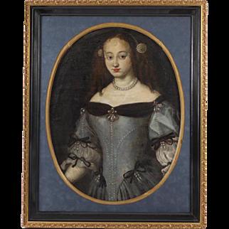 17th Century Minor Flemish Oil on Canvas Portrait of a Noble Woman