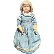 "Unusual 17.5"" French Reinforced Wax Child Doll with Socket Head and Fully Jointed Wood Body"