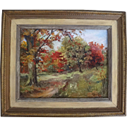 California Listed artist E Willard signed oil on board landscape painting