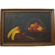 Vintage still life oil on canvas large fruit painting in the original frame