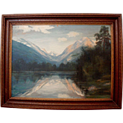 Art J Meyers Colorado artist signed oil on board large landscape painting