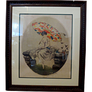 Original Louis Icart Parasol colored lithograph print dated 1923