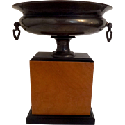 French Art Nouveau bronze footed bowl centerpiece with handles