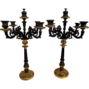 Pair of French Art Nouveau ornate bronze ormolu candle holders candelabra