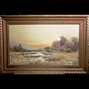Otis S Weber New York artist signed large watercolor landscape painting