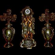 French Art Nouveau large bronze cherub mantle clock and vase set after Ernest Carrier