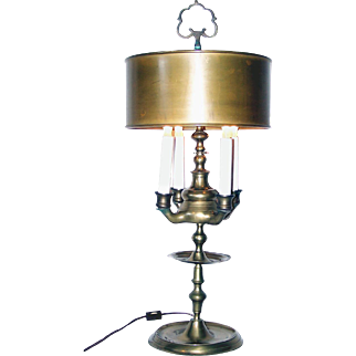Antique Vienna, or French Brass Oil Lamp, with Brass Shade, electified.