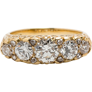 2.20ct Round Old European and Rose cut Diamond. 5 Stone Ring, circa 1940's or earlier.