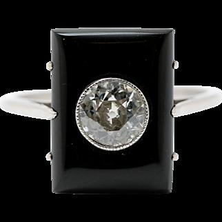 Art Deco Onyx and 0.50ct Diamond Oblong Ring. Circa 1920/30's